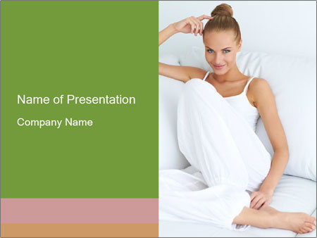 Young beautiful woman sitting PowerPoint Template