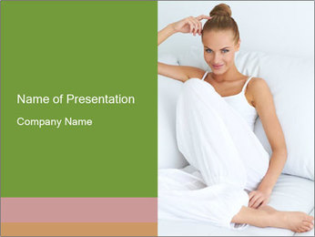 Young beautiful woman sitting PowerPoint Template - Slide 1