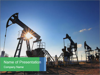 Working oil pumps PowerPoint Template - Slide 1