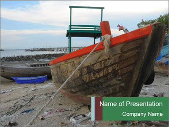 Fishing boat on the beach PowerPoint Template - Slide 1