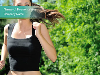 Young woman jogging PowerPoint Template - Slide 1