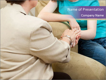Depressed girl gets counseling PowerPoint Template