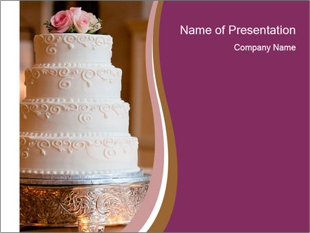 A multi level white wedding cake PowerPoint Template
