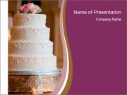 A multi level white wedding cake PowerPoint Templates