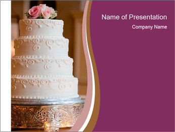 A multi level white wedding cake PowerPoint Template - Slide 1