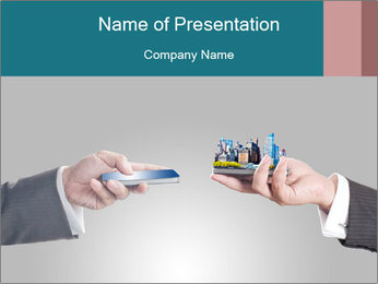 Holding smart phone PowerPoint Template - Slide 1