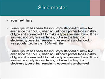 Holding smart phone PowerPoint Template - Slide 2