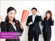 Asian business team PowerPoint Template