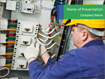One electrician at work PowerPoint Template