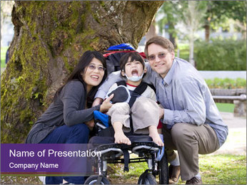 Happy disabled child PowerPoint Template - Slide 1