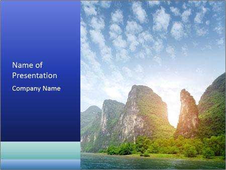 Beautiful Yu Long river PowerPoint Template