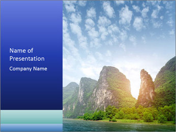 Beautiful Yu Long river PowerPoint Template - Slide 1