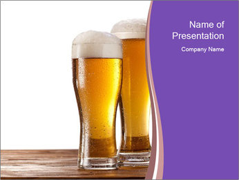 Two glasses of beers PowerPoint Template - Slide 1