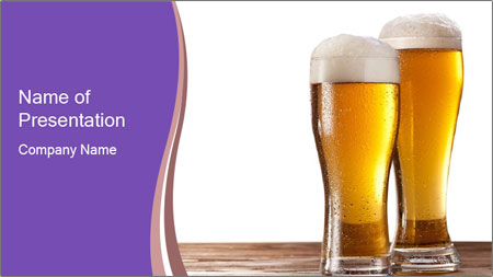 Two glasses of beers PowerPoint Template