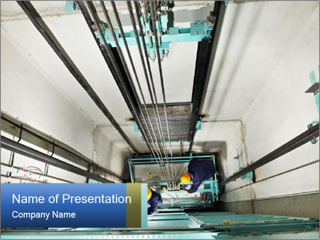Two machinist worker PowerPoint Template
