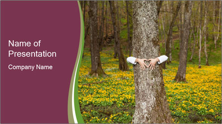 Tree in forest PowerPoint Template