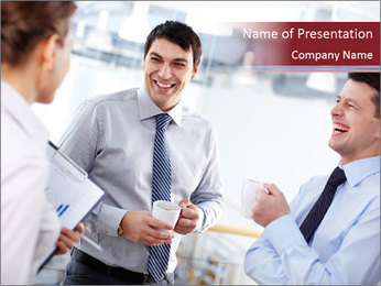 Portrait of happy businessmen PowerPoint Template - Slide 1