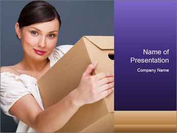Woman with boxes PowerPoint Template