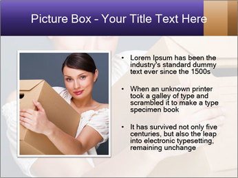 Woman with boxes PowerPoint Template - Slide 13
