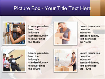 Woman with boxes PowerPoint Template - Slide 14