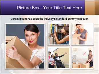 Woman with boxes PowerPoint Template - Slide 19