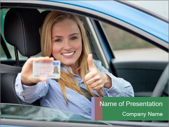 Woman showing drivers license PowerPoint Template - Slide 1