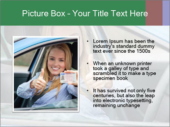 Woman showing drivers license PowerPoint Template - Slide 13