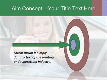 Woman showing drivers license PowerPoint Template - Slide 83