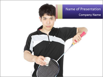 Serving badminton PowerPoint Template