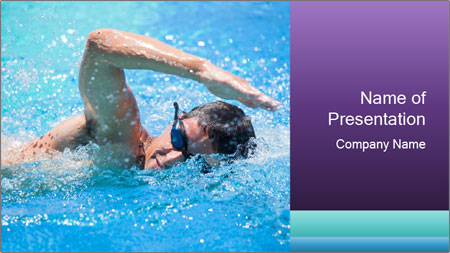 Man swimming PowerPoint Template