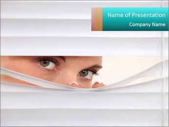 Woman peering PowerPoint Templates - Slide 1