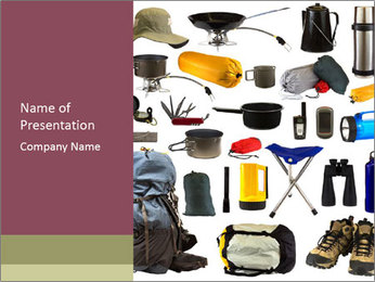Camping gear collage PowerPoint Template