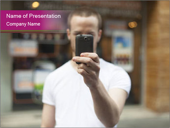 Men photographing with smartphone PowerPoint Template - Slide 1