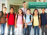 Pre teen schoolchildren PowerPoint Templates