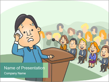 Man Showing Signs PowerPoint Template