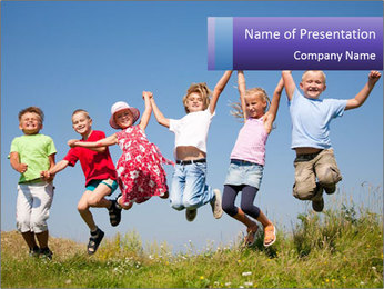 Children jumping PowerPoint Template