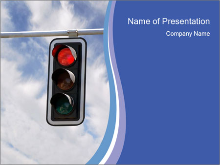 Red traffic lights PowerPoint Template
