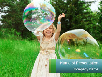 Pretty little girl PowerPoint Template