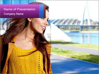 Young brunette PowerPoint Template - Slide 1
