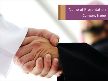 Business people over a deal PowerPoint Template
