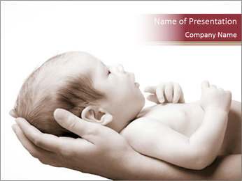 Little baby held PowerPoint Template - Slide 1