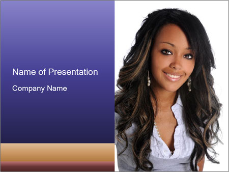 Beautiful American woman PowerPoint Template