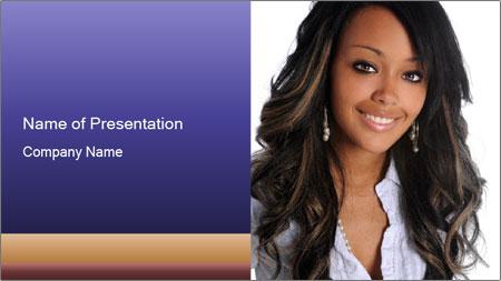 Beautiful American woman PowerPoint Template