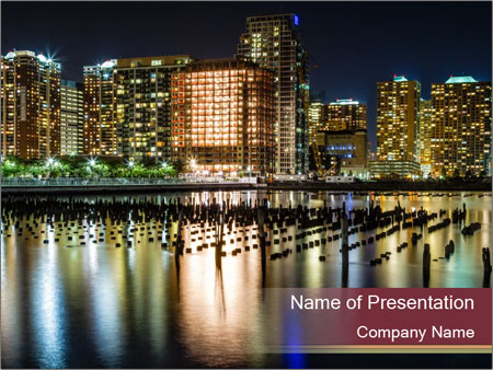 Newport section of Jersey City PowerPoint Template
