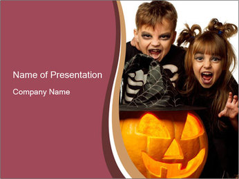 Boy and girl wearing halloween PowerPoint Template - Slide 1