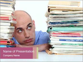 Bald office worker PowerPoint Template - Slide 1
