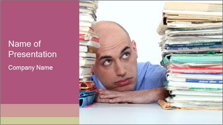 Bald office worker PowerPoint Template