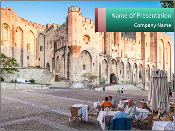 Pope palace in Avignon PowerPoint Template