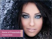 Woman in a snowy furry hood PowerPoint Templates