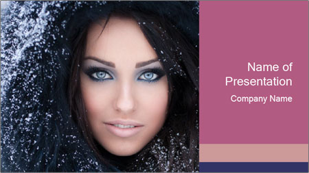 Woman in a snowy furry hood PowerPoint Template